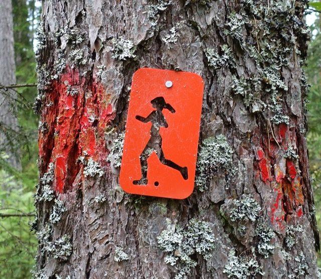 Rød tursti merking i Aurskog