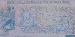Kart over oldtidsveien i Bamle