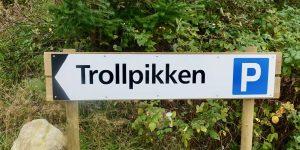 Skiltet viser vei til Trollpikken i Eigersund