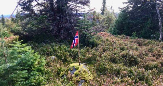 Flagg på toppen Vesle Kråkhugu i Gjøvik