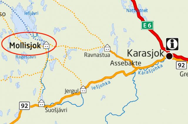 Kart over Karasjok