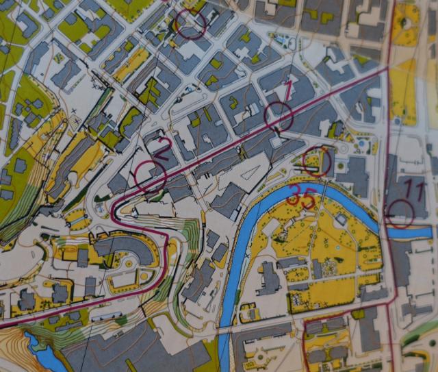 Kart fra stolpejakten i Gjøvik sentrum