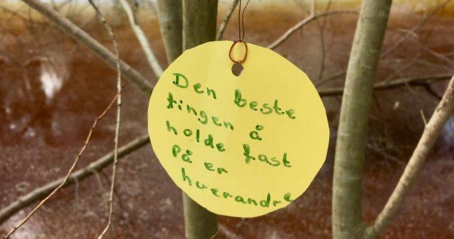 Skilt i skogen i Vestby